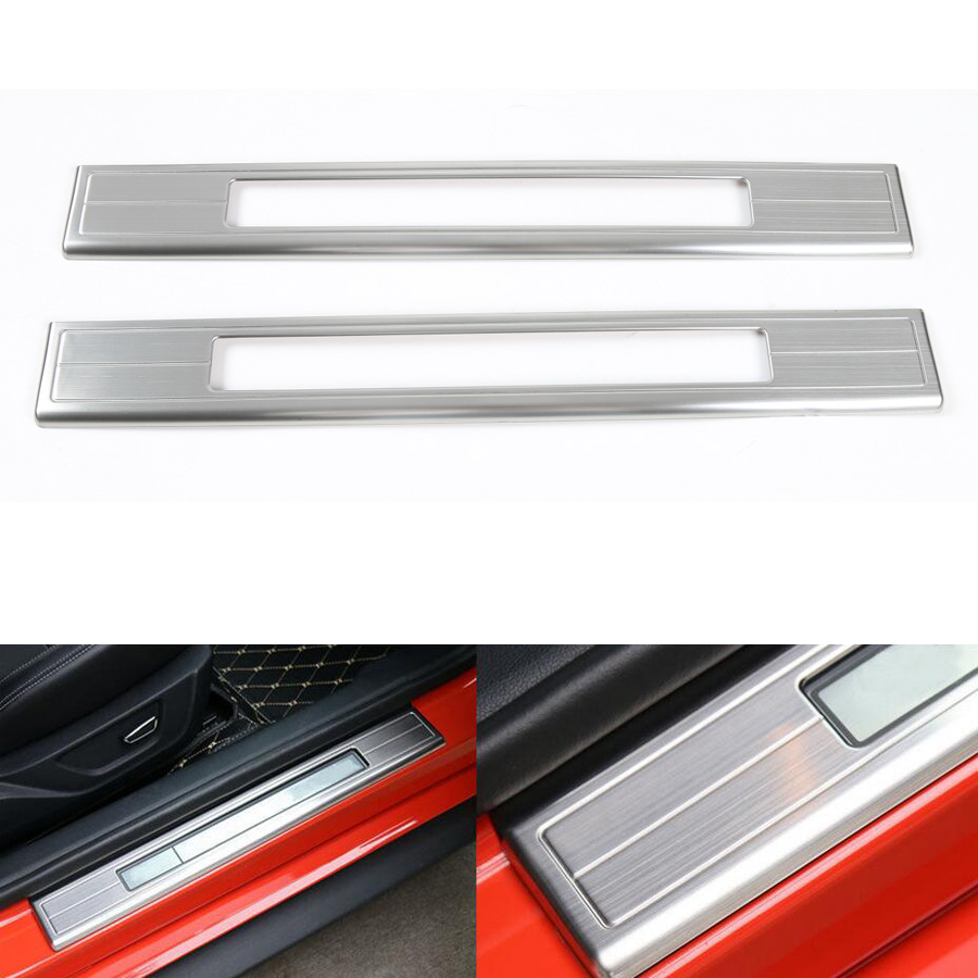 2Pcs/set Stainless Steel Car Door Sill Trim Hollow Out Welcome Pedal Half Suroud Cover Strip Fit For Ford Mustang 2015 2016 1 pair stainless steel interior decorative car door handle cover with 3m double sided tape for 2015 2016 new ford mustang