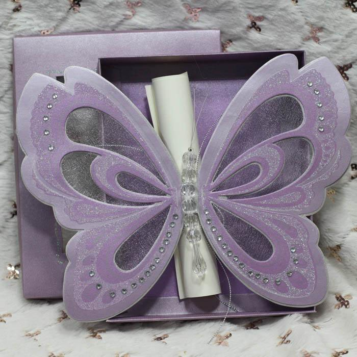 Purple Elegant Butterfly Party Wedding Invitations with Blank Scroll ...