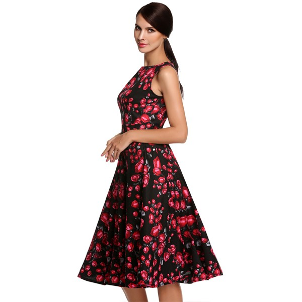 ACEVOG Women Dress Retro Vintage 1950s 60s Rockabilly Floral Swing Summer Dresses Elegant Bow-knot Tunic Vestidos Robe Oversize 36