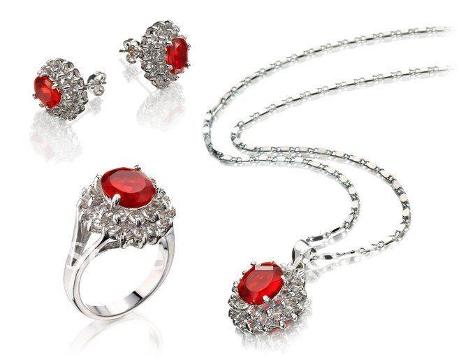 Модные ювелирные изделия Красный Циркон ожерелье кольцо кулон серьги набор#145