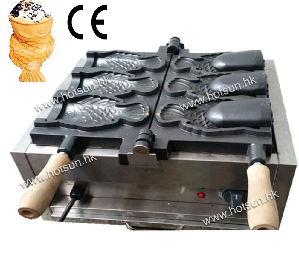 3pcs Fish Commercial Use Non-stick 110v 220v Electric Ice Cream Taiyaki Maker Iron Machine Baker commercial non stick 110v 220v electric ice cream fish waffle taiyaki iron maker baker machine