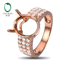 Oval 10x12mm 14K Rose Gold 0.78ct Naural Diamonds Engagement Ring Setting