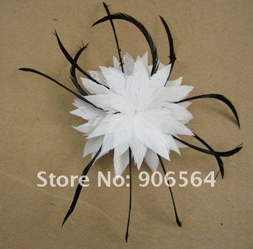 Очаровательное Белое и черное украшение с перьями аксессуары для волос, зажимы винтажные женские свадебные головные уборы 2 шт./партия XBC01