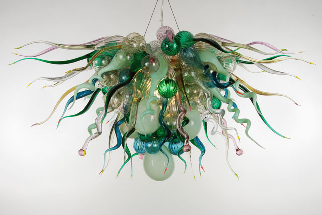 Free Shipping Indoor Art Decorative LED Light Source European Italian Chihuly Style Hand Blown Glass Shade Murano Chandelier