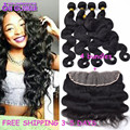 Cambodian Virgin Hair Body Wave With Closure Black 7a Lace Frontal Closure With Bundles Fashion 4 pcs Hair Bundles And Closure
