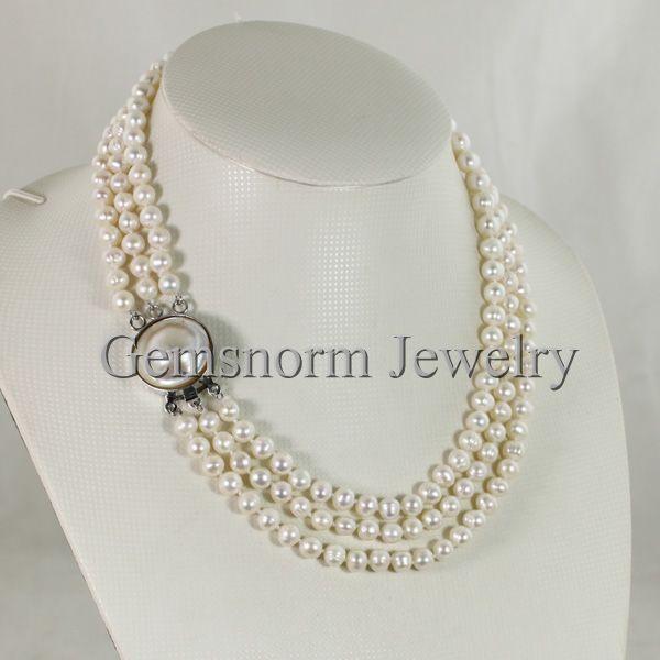 Potato pearl necklace 6.3-6.8mm wholesale peacock blue pearl freshwater pearl necklace loose pearl jewelry 63pcs Full Strand LY2048