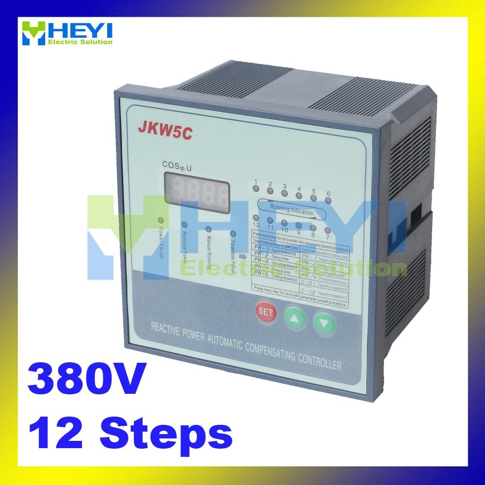 JKW5C power factor regulator compensation controller for power factor capacitor 12steps 380v jkw5c 6 reactive power compensation controller for power factor capacitor 6steps 380v cos power