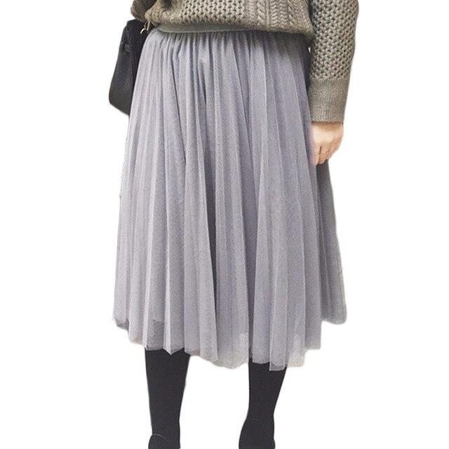 7c0ea38c48 Fancyqube Tul Faldas Las Mujeres Del Verano Elástico de Cintura Alta Falda  larga de Las Señoras