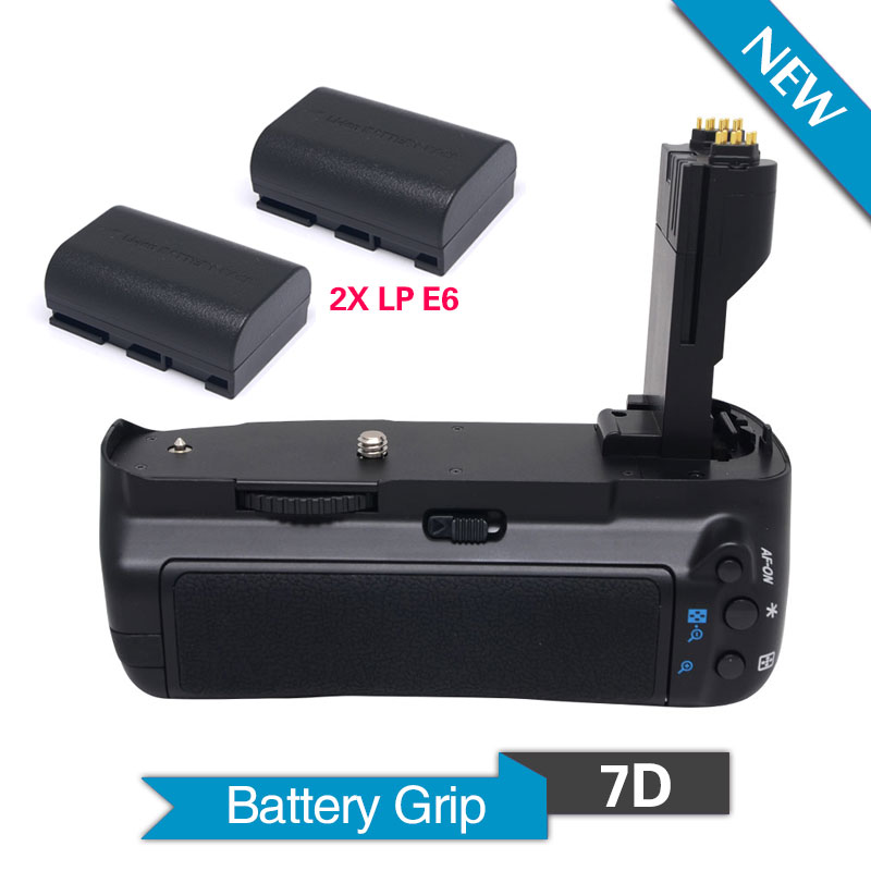 Meike MK-7D Vertical Battery Grip with 2pcs LP-E6 Batteries for Canon EOS 7D Camera Replacement of BG-E7 BGE neewer meike battery grip for sony a6300 camera built in 2 4ghz remote control work with 1 or 2 np fw50 battery