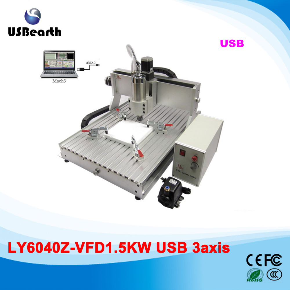 LY 6040Z-VFD1.5KW USB 3axis mini CNC router all assembled with 1.5KW water cooling spindle ship to Russia free tax no tax to russia high precision china cnc machine 6040 3axis usb with 1 5kw vfd water cooling spindle mach3 remote control
