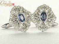 14 карат золото 1.35 карат натуральный голубой сапфир & бриллиант очаровательный дизайн запонки