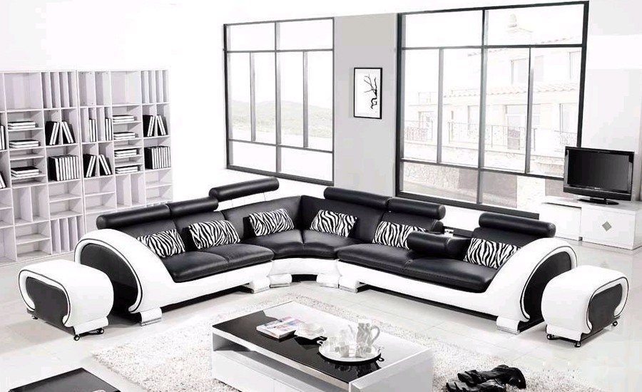 Large L Shaped Hard Wood Frame Corner Leather Clic Black White Modern Sofas