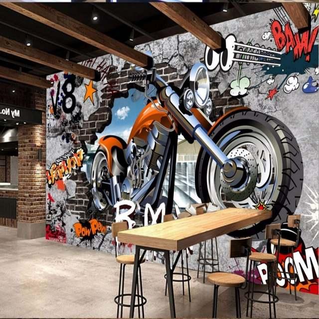 Online Shop Beibehang Custom Motorcycle Street Graffiti Art