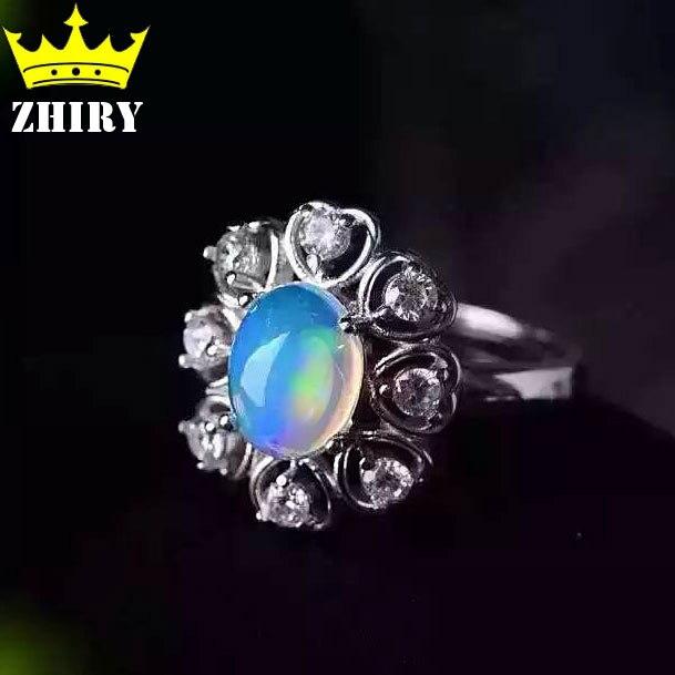 Opale naturelle gemmes anneau véritable solide 925 en argent sterling pierre taille 7*9mm femme fine couleur pierres bijoux