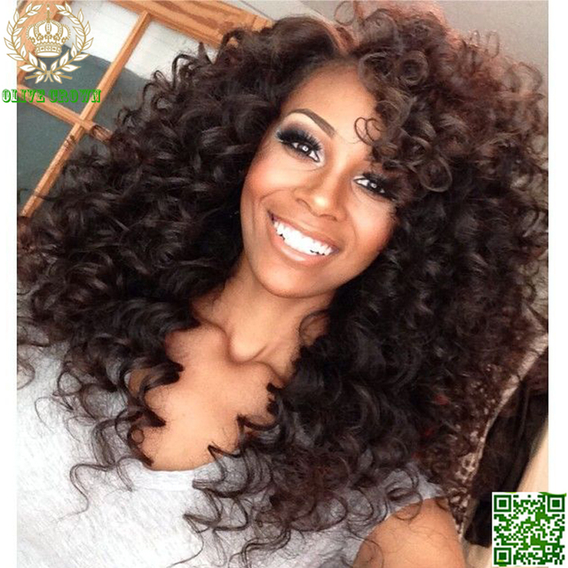 Brazilian Virgin Kinky Curly Full Lace Wig Human Hair Glueless Lace