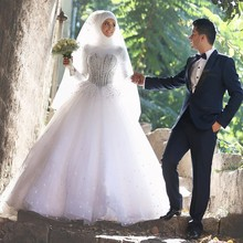 OMY079 Ball Gown 2016 Wedding Dresses With Hijab Veil Soft Tulle High Neck Beading Long Sleeve Bridal Gowns for Muslim Women