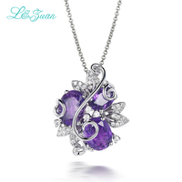 L Zuan 925 Sterling Silver Natural 4 18ct Amethyst Pendant Purple Stone Jewelry With Silver Chain