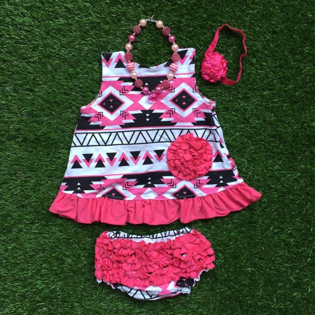 Meninas boutique de roupas balanço define infantil roupas de menina babyhot rosa asteca preto balanço tops com acessórios