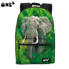 2016 ONE2 дизайн лесной слон рисунок печать горячая распродажа рюкзак брезентовый мешок мода мешок школы для студентов вузов