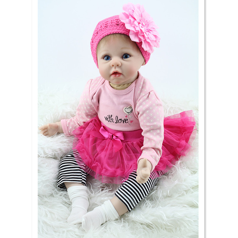 Real Reborn Babies Newborn Doll Toys for Girls Children Gift,20 Inches silicone Reborn Baby Dolls with Dress Clothes and Hat ...