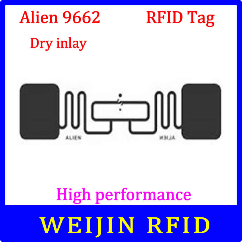 Alien 9662 UHF RFID  Dry Inlay 860-960MHZ Higgs3 915M EPC C1G2 ISO18000-6C,can Be Used To RFID Tag And Label