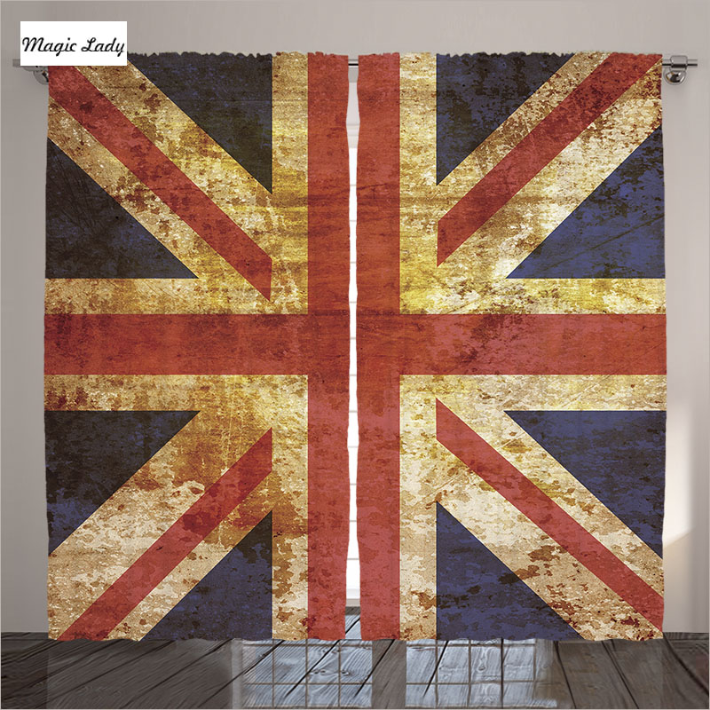 Blackout curtains uk living room bedroom flag vintage for Modern living room curtains uk