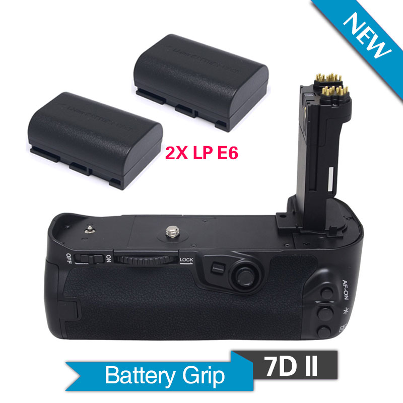 Meike MK-7DII Vertical Battery Grip with 2pcs LP-E6 Batteries for Canon EOS 7D Mark II Camera as BG-E16 shoot lp e6 7 2v 1800mah battery pack for canon eos 5d mark ii 7d 60d