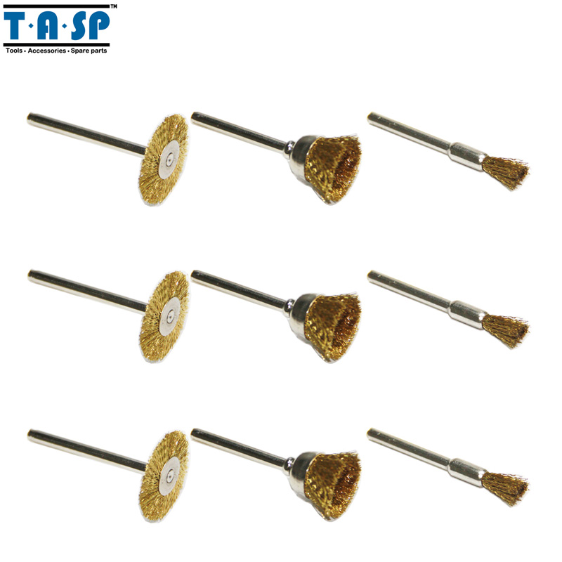 TASP Brass Wire Brushes Wheels Set 9PC Mini Drill Rotary Tool Accessories