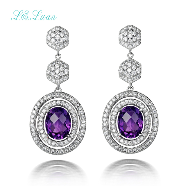 2017Best selling 925 sterling silver natrual Amethyst purple quartz round drop earring jewelry silver bijou  for woman gift