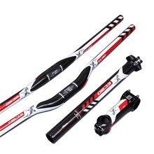 EC90 Juego de manillar de fibra de carbono para bicicleta de montaña, de cuero y fibra de carbono, 3 a manillar de subida plana, vástago y tija de sillín