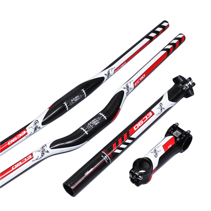 MTB Carbon Fiber Leather EC90 Fiber Bike Set 3 til den flade riser Håndtag + stang + sædepude MTB Mountain Bike Parts