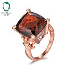CaiMao 10KT/470 Rose Gold 10.2ct Smoky Topaz 0.15ct Round Cut Diamond Engagement Gemstone Ring Jewelry