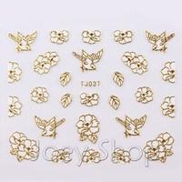 24 шт. белый и золотой металл дизайн ногтей наклейки 3д цветы роза тюльпан наклейки для ногтей украшения клей наклейки для ногтей