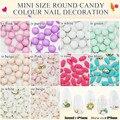 25 pçs/lote tiny Mini doce doces coloridos rodada contas Nail Art DECO do olho do cavalo