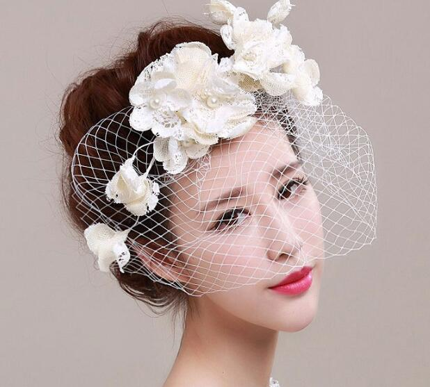 Ivory Flower Hair Clip Wedding: Bridal Flower Fascinator Lace Pearl Simulated Bride Hat