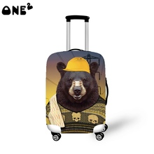 2016 ONE2 Design big bear pattern printing cover apply to 22,24,26 inch waterproof animal luggage cover for teenage girls