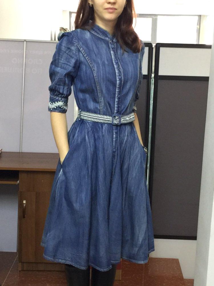 Джинсовое платье с вышивкой с Алиэкспресс