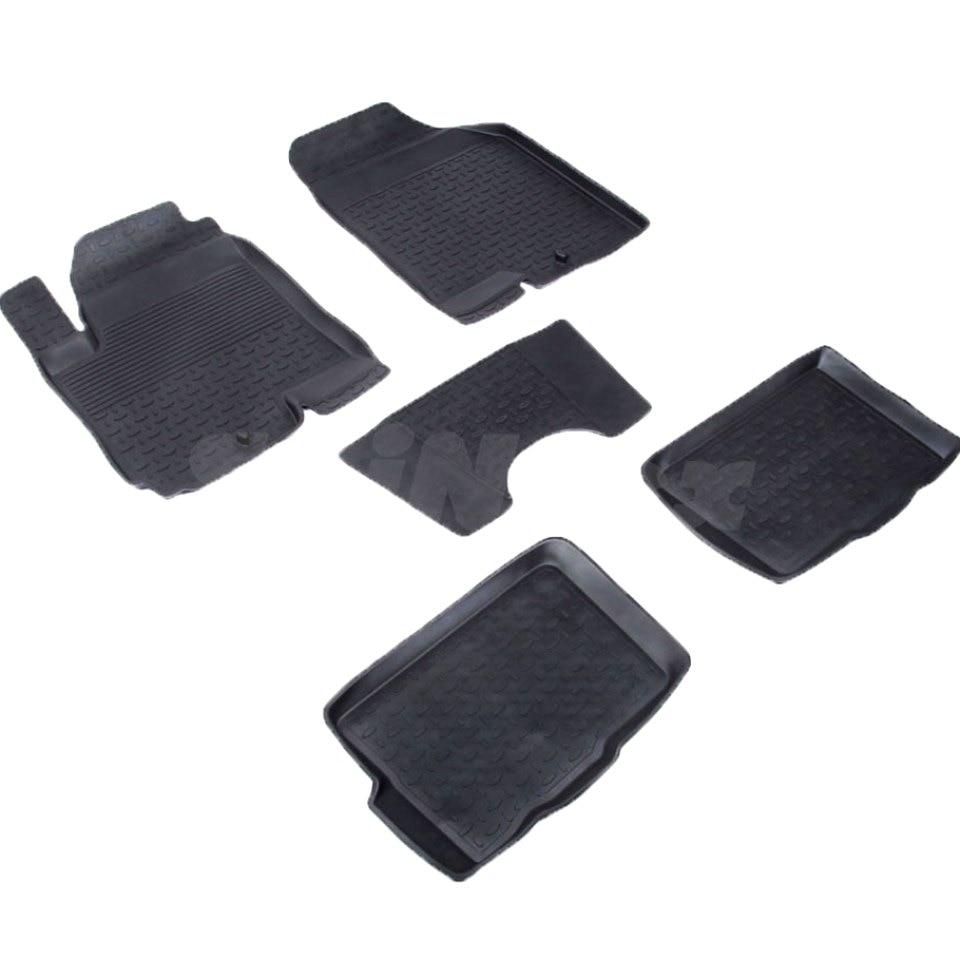 Rubber floor mats for Kia Soul I 2009 2010 2011 2012 2013 Seintex 82568 цена и фото