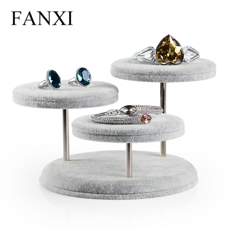FANXI Desk Shape Jewelry Bracelet/bangle/hand Chain Display Wrapped With Plush Fabric Stand For Jewelry Counter Silver Gray