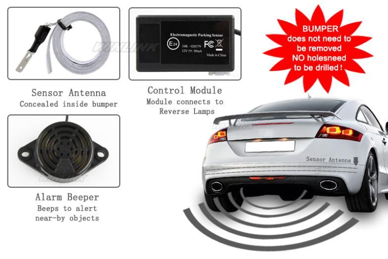 Hot Car Electromagnetic Parking Sensor No HolesEasy install Parking Radar Bumper Guard Backup Reversing Parking System 7