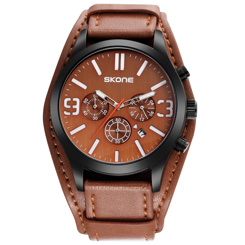 SKONE Fashion Amry Military Watch Men Relogio Masculino Leather Luxury Men Watch Roles Chronograph Cool Brown Quartz Watches skone relogio 9385