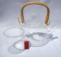 600 мл стеклянный чайник + 6 чашки, ручка ротанга, b016, бесплатная доставка