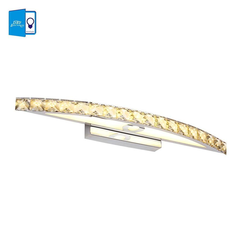 ФОТО [DBF] 10W 15W LED Crystal Mirror Wall Lamp Bathroom Lights 90-260V Stainless Sconces Indoor Crystal Lighting 44/54cm