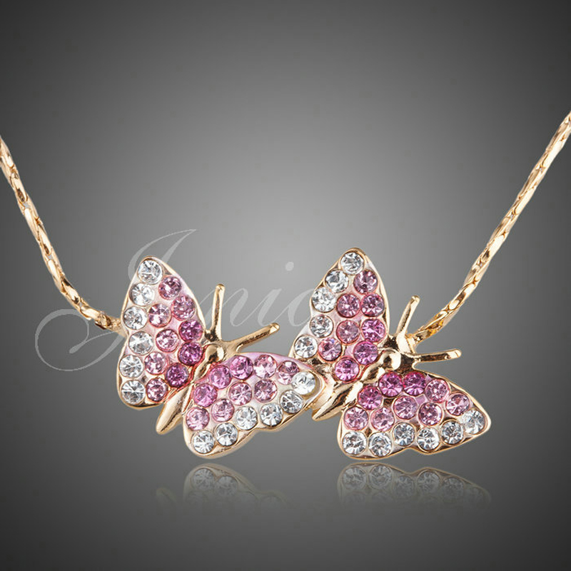 Jenia Yellow Gold Color Stellux Austrian Crystal Double Butterfly Pendant Chain Necklace for Lover XN076