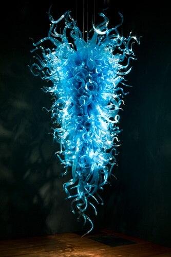 Blue Hand Blown Glass Shade Italian Murano Chandelier Luxury Indoor Custom Made Chihuly Style Modern Design Lighting