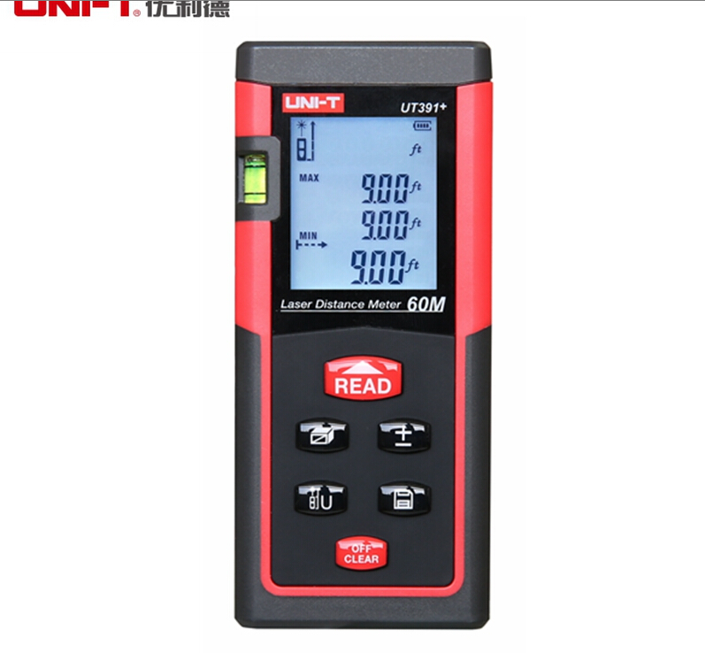 UNI-T UT391+ Range Finder Measure Handheld 60m Digital Laser Distance Meter Distance Area Volume Self-calibration Level Bubble