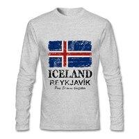 2017 Date Hommes Tee Shirts Manches Longues Islande Drapeau Graphique T-shirt Col Rond Vente Chaude Mens T shirt