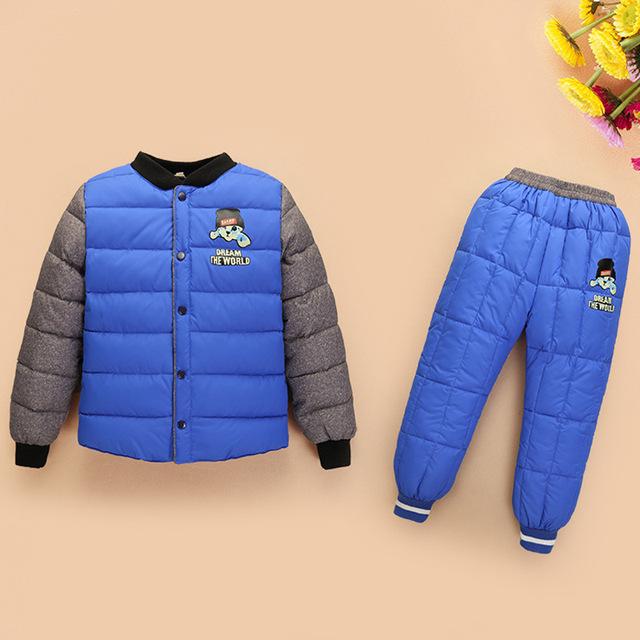 Ternos jaqueta crianças até engrossar o boys & girls inverno branco pato roupas casacos + calças da roupa do bebê terno define 7 cores