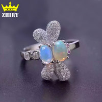 100 Natural Opal Gem Ring Genuine Solid 925 Sterling Silver Precious Stone White Gold Plated Woman