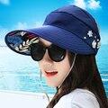 BooLawDee Mujeres protector solar Verano transpirable gran sol ala del sombrero plegable sin tapa ajustable beige H04003